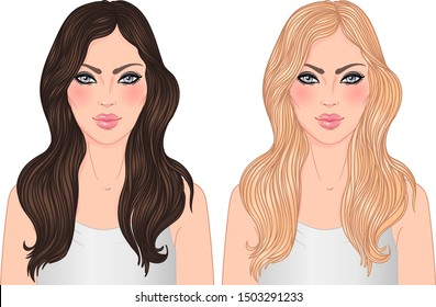 Two vector woman (blonde and brunette) with long hair isolated on white. Young Caucasian girls.  Can be used as a face chart or for hairdressers. Skincare, professional hairdressing, beauty salon.