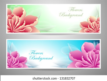 Two vectors flowers banners red magenta peony  on green marine background