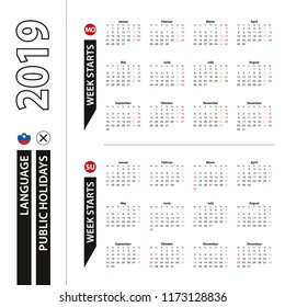 Two versions of 2019 calendar in Slovenian, week starts from Monday and week starts from Sunday.