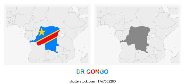 Two versions of the map of DR Congo, with the flag of DR Congo and highlighted in dark grey. Vector map.