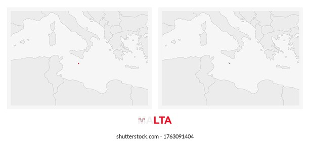 Two versions of the map of Malta, with the flag of Malta and highlighted in dark grey. Vector map.