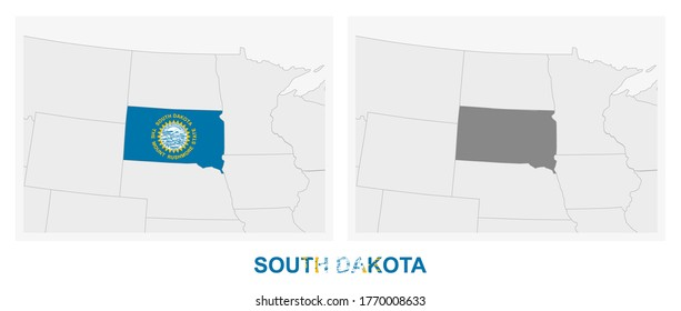 Two versions of the map of US State South Dakota, with the flag of South Dakota and highlighted in dark grey. Vector map.