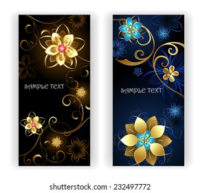 Two vertical banner with shiny gold jewelry flowers on black background.