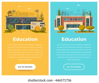 Two vertical banner for web design. School theme with building