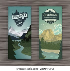 Two vertical banners with mountains and rivers for hiking, travel and tourism.