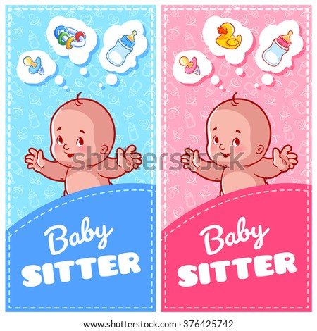 Two Vertical Flyer Of Babysitter With Cute Toddler And Baby Toys Orientation Banner