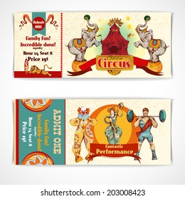 Two vintage circus incredible clown show entrance tickets templates with strongman barbells set isolated vector illustration