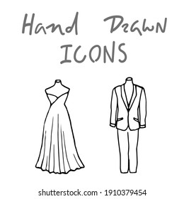 two vintage mannequins - traced sketch drawing. a woman's dress and a man's two-piece business suit on old-fashioned headless mannequins. vector illustration of bride and groom wedding dresses