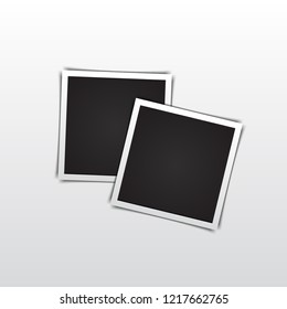 Two vintage photo frame with shadow. Vector illustration.