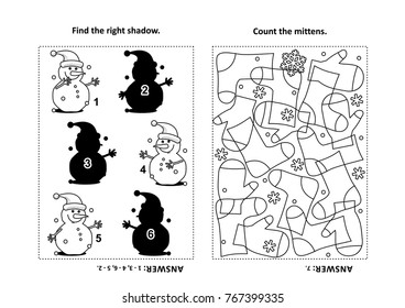Two visual puzzles and coloring page for kids. Find the right shadow for each picture of snowman. Count the mittens. Black and white. Answers included.
