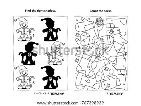 Two Visual Puzzles Coloring Page Kids Stock Vector Royalty Free