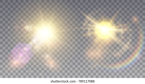 Two vivid summer suns with colorful lens flare effects, rainbow, halo and hexagonal particles.