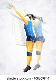 two volleyball players. Professional volleyball players in action on the court. Abstract volleyball player