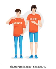 Two volunteer guys in special T-shirts with an inscription volunteer. Vector illustration