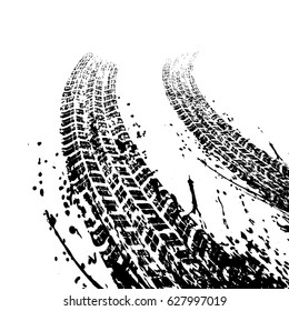 Two warped black grunge tire tracks isolated on white background
