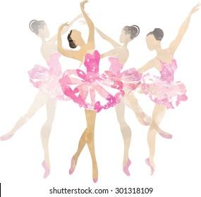 Two watercolor ballerina dancing  pink