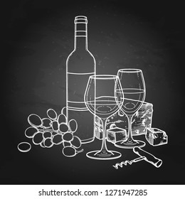 Two watercolor glasses of wine, bottle, grapes, cheese and corkscrew. Kitchen still life. Vector artwork isolated on the chalkboard background