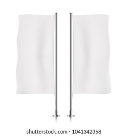Two waving white vertical banner flags. Vector banner flag templates isolated on background. Vertical flags realistic mockup.