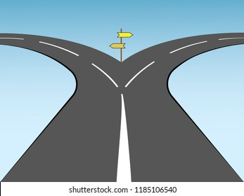Two way street with direction signs for future step in business vector illustration