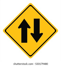 Two way traffic sign,vector illustration