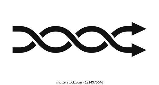 Two weaving arrows, crossed arrows, vector illustration