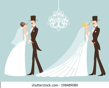 Two wedding couple.Cute cartoon groom and bride in retro style . A design template.The vector.