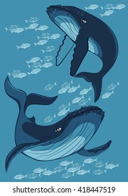 Two whale among fish on a blue background, vector illustration