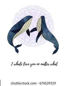 Two whales in love. T-shirt or poster design. Watercolour imitation.