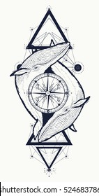 Two whales and rose compass tattoo geometric style. Adventure, travel, outdoors, meditation symbol t-shirt design, boho style.