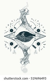 Two whales in sea wind rose compass mystical tattoo vector. Japanese carp in water. Travel, adventure, outdoors symbol. Storm at sea marine