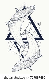 Two whales tattoo geometric style. Mystical symbol of adventure, dreams. Creative geometric tattoo art t-shirt print design poster textile. Outdoors symbol whale marine