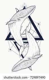 Two whales tattoo geometric style. Mystical symbol of adventure, dreams. Creative geometric tattoo art t-shirt print design poster textile. Outdoors symbol whale marine