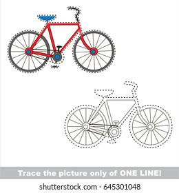 Two wheeled bicycle. Dot to dot educational game for kids. trace only of one line.