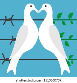 Two white birds perching on black barbed wire turning green sprouts with leaves. Love, peace and war, truce and freedom concept. Flat design. Vector illustration. No gradients, no transparency