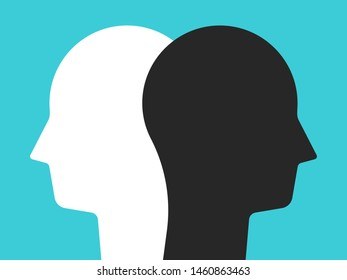 Two white and black head silhouettes on turquoise blue background. Psychology, diversity, tolerance and opposites concept. Flat design. Vector illustration, no transparency, no gradients