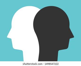 Zwei weiße und schwarze Kopfsilhouetten auf türkisblauem Hintergrund. Konzept der Psychologie, Vielfalt, Toleranz und Gegensätze. Flaches Design. EPS 8 Vektorgrafik, keine Transparenz, keine Farbverläufe
