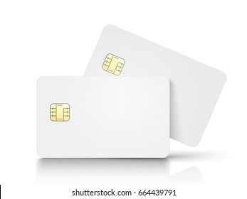 two white blank chip cards, one slanting, isolated white background, 3d illustration