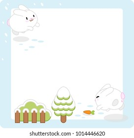 Two white bunnies jumping in the snow with fir tree, bush and carrot, middle left blank for text (vector template)