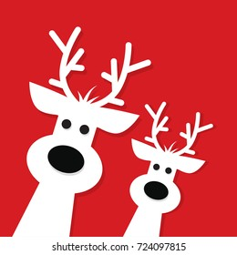 Two white Christmas Reindeer on a red background, vector illustration