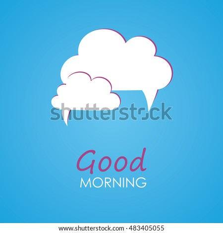 Two White Cloud Words Good Morning Stock Vector Royalty Free