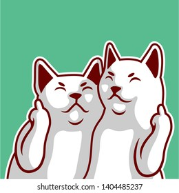 Two White Cute white cat cuddling showing fuck you - Vector
