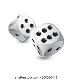 two white dice for gambling