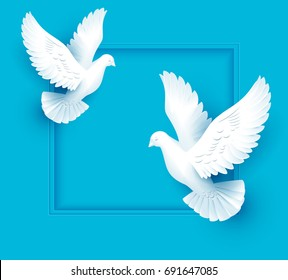 Two white dove fly on blue background. Template vector illustration greeting card