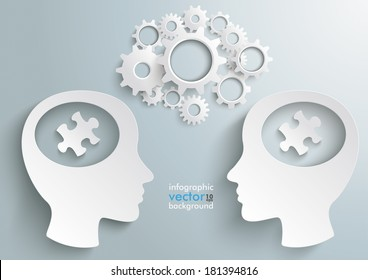 Two white heads with gears and puzzle pieces on the grey background. Eps 10 vector file.