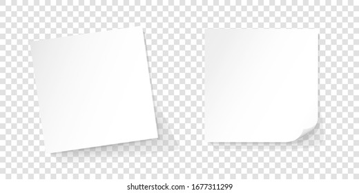 Two white paper reminder, white sticks, sticky notes, realistic vector illustration on isolated background with shadow