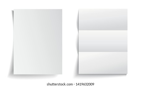 Two white paper with shadows - stock vector