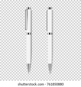 Two white pen on transparent background.Vector set of corporate identity, branding stationery templates. Mockup ready for design