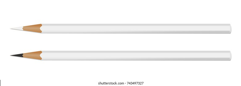 Two white pencil on white background for your logo. Mockup . Vector