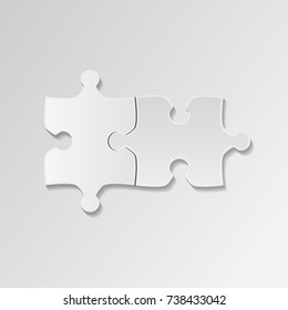 Two white piece flat puzzle. Vector puzzle icon white background. Business presentation. Mock up