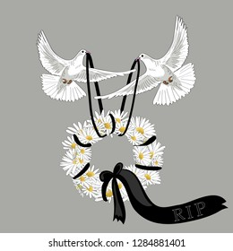 Two white pigeons flying with flower wreath with black ribbon. Rest in Peace. Vector illustration on light background